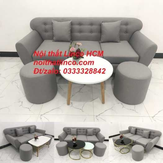 Sofa băng BgTC05 | Sofa băng màu xám trắng ghi, sofa xám tro, xám bạc | Nội thất Linco HCM12