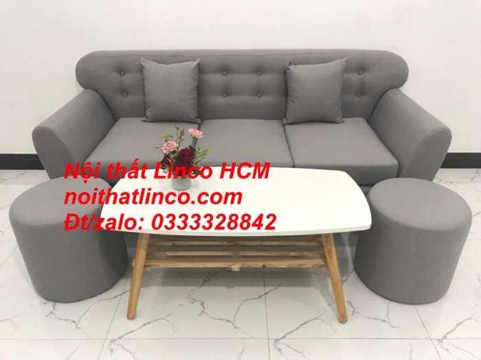 Sofa băng BgTC05 | Sofa băng màu xám trắng ghi, sofa xám tro, xám bạc | Nội thất Linco HCM11