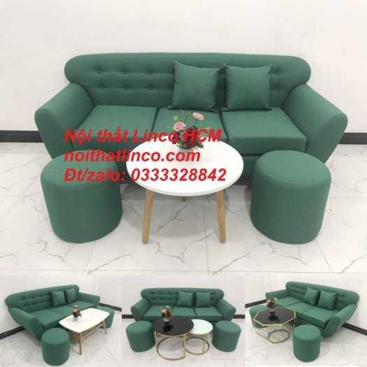 Sofa băng BgTC06   Sofa màu xanh ngọc vải bố   Ghế sofa băng giá rẻ Nội thất Linco HCM Tphcm Gò Vấp12