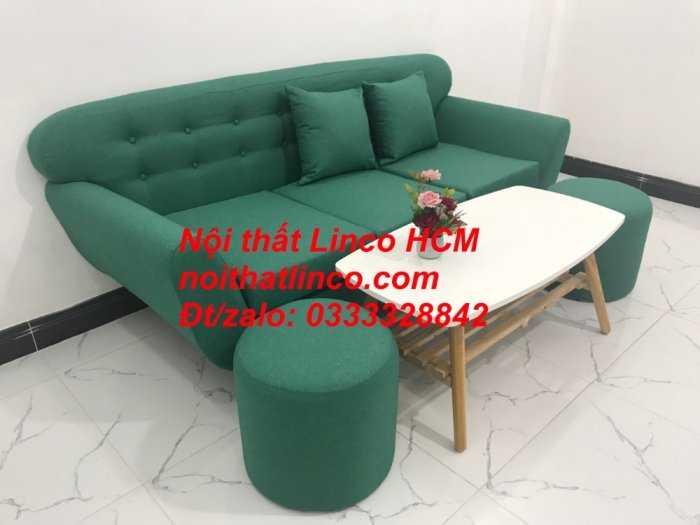 Sofa băng BgTC06   Sofa màu xanh ngọc vải bố   Ghế sofa băng giá rẻ Nội thất Linco HCM Tphcm Gò Vấp11