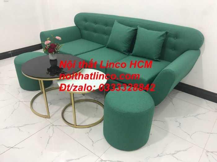Sofa băng BgTC06   Sofa màu xanh ngọc vải bố   Ghế sofa băng giá rẻ Nội thất Linco HCM Tphcm Gò Vấp10