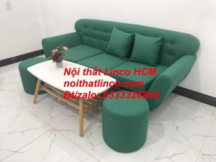 Sofa băng BgTC06   Sofa màu xanh ngọc vải bố   Ghế sofa băng giá rẻ Nội thất Linco HCM Tphcm Gò Vấp9