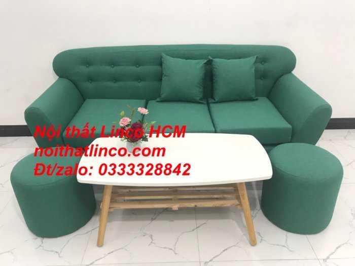 Sofa băng BgTC06   Sofa màu xanh ngọc vải bố   Ghế sofa băng giá rẻ Nội thất Linco HCM Tphcm Gò Vấp8