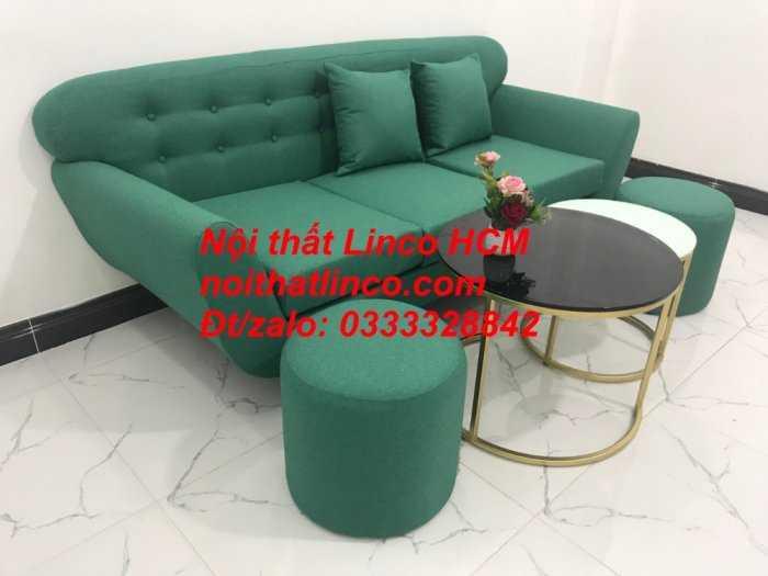 Sofa băng BgTC06   Sofa màu xanh ngọc vải bố   Ghế sofa băng giá rẻ Nội thất Linco HCM Tphcm Gò Vấp7