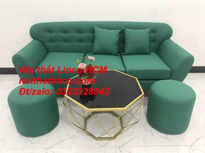 Sofa băng BgTC06   Sofa màu xanh ngọc vải bố   Ghế sofa băng giá rẻ Nội thất Linco HCM Tphcm Gò Vấp6