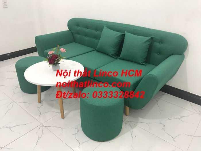 Sofa băng BgTC06   Sofa màu xanh ngọc vải bố   Ghế sofa băng giá rẻ Nội thất Linco HCM Tphcm Gò Vấp5