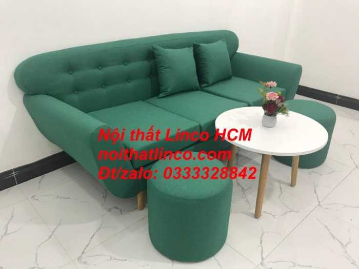 Sofa băng BgTC06   Sofa màu xanh ngọc vải bố   Ghế sofa băng giá rẻ Nội thất Linco HCM Tphcm Gò Vấp4