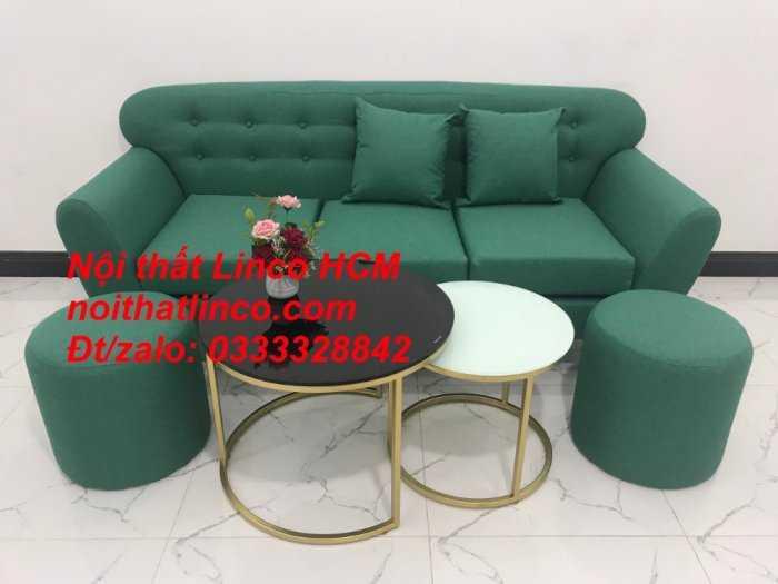 Sofa băng BgTC06   Sofa màu xanh ngọc vải bố   Ghế sofa băng giá rẻ Nội thất Linco HCM Tphcm Gò Vấp3