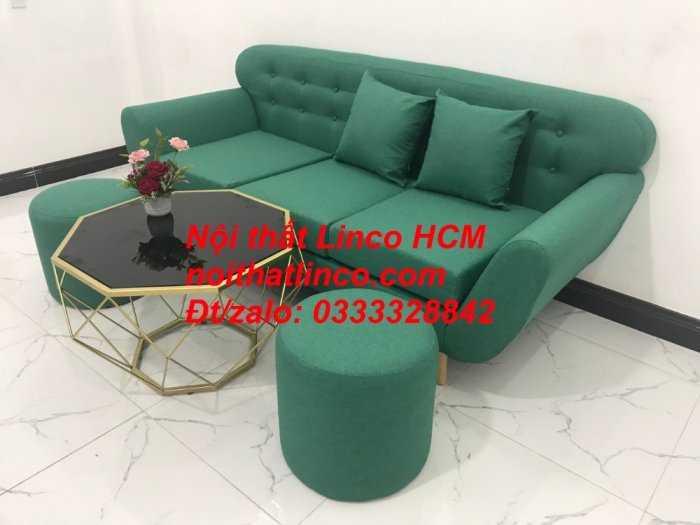 Sofa băng BgTC06   Sofa màu xanh ngọc vải bố   Ghế sofa băng giá rẻ Nội thất Linco HCM Tphcm Gò Vấp2