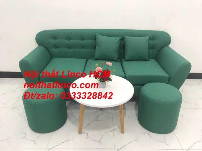 Sofa băng BgTC06   Sofa màu xanh ngọc vải bố   Ghế sofa băng giá rẻ Nội thất Linco HCM Tphcm Gò Vấp1