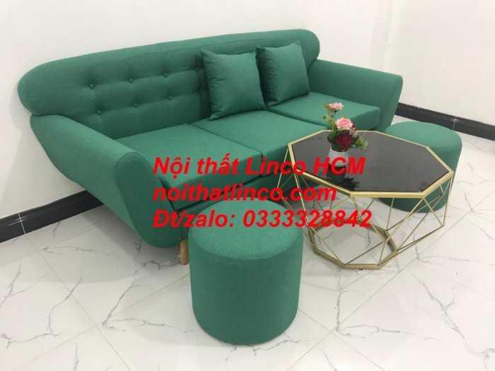 Sofa băng BgTC06   Sofa màu xanh ngọc vải bố   Ghế sofa băng giá rẻ Nội thất Linco HCM Tphcm Gò Vấp0