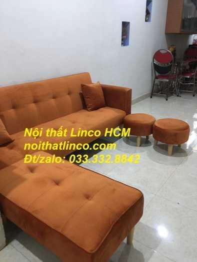 Combo ghế sofa bật giường nằm màu cam vải nhung nhiều món2