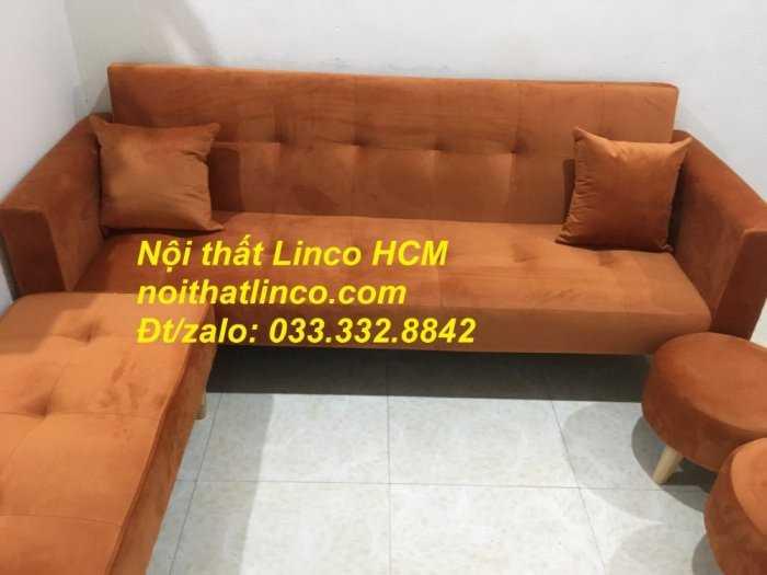 Combo ghế sofa bật giường nằm màu cam vải nhung nhiều món1
