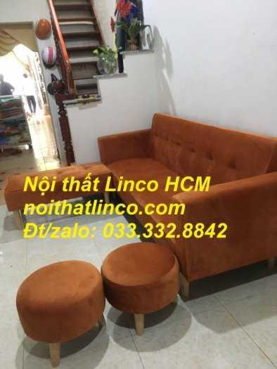 Combo ghế sofa bật giường nằm màu cam vải nhung nhiều món0