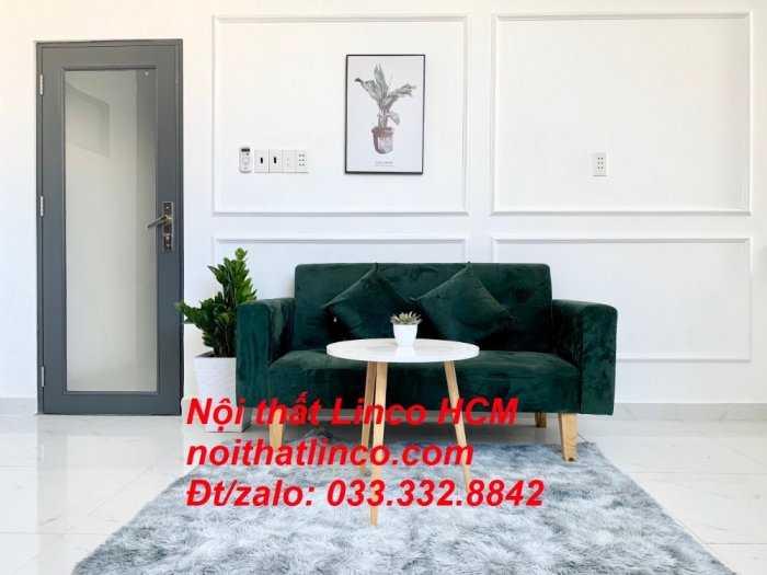 Ghế sofa dài 1m5 | Sofa băng nhỏ đa năng màu xanh rêu đậm | Nội thất Linco Tphcm huyện củ chi bình chánh hóc môn cần giờ0