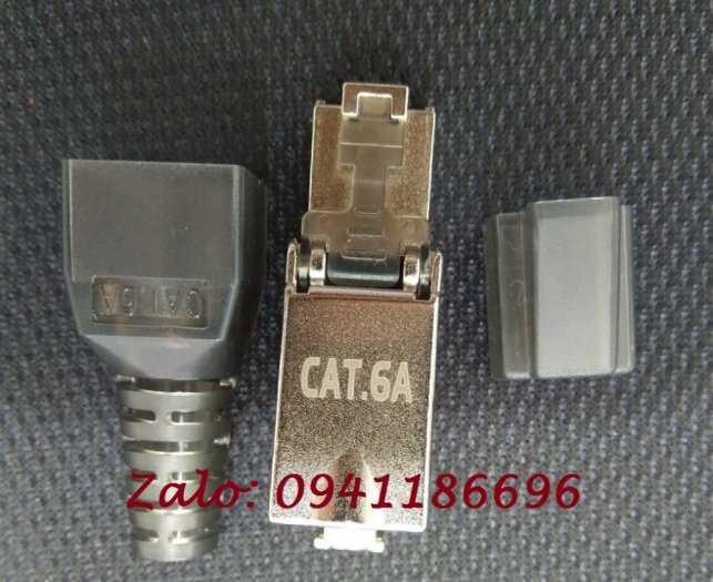 Hạt mạng chống nhiễu Cat6A STP không dùng tool, có chụp nhựa0