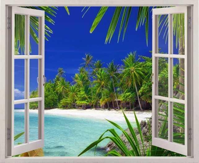 Tranh cửa sổ - gạch tranh 3d cửa sổ - DK095
