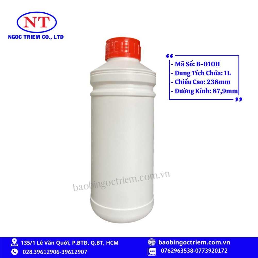Bình Nhựa HDPE 1lít B-010H - BAO BÌ NGỌC TRIÊM0