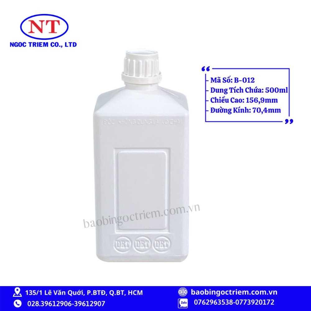Bình Nhựa HDPE 500ml B-012 - BAO BÌ NGỌC TRIÊM0