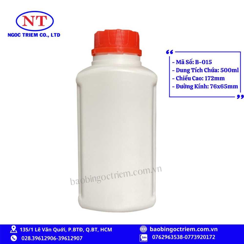Bình Nhựa HDPE 500ml B-015 - BAO BÌ NGỌC TRIÊM1