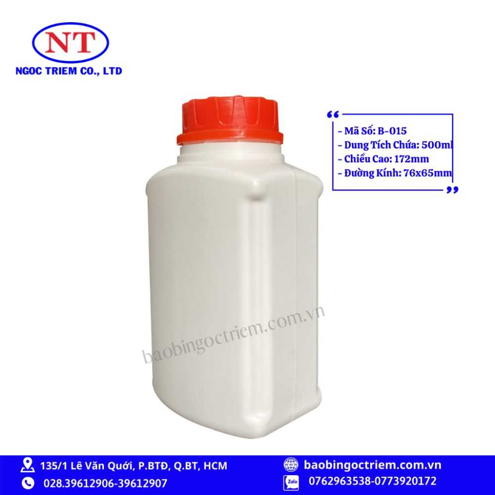 Bình Nhựa HDPE 500ml B-015 - BAO BÌ NGỌC TRIÊM0