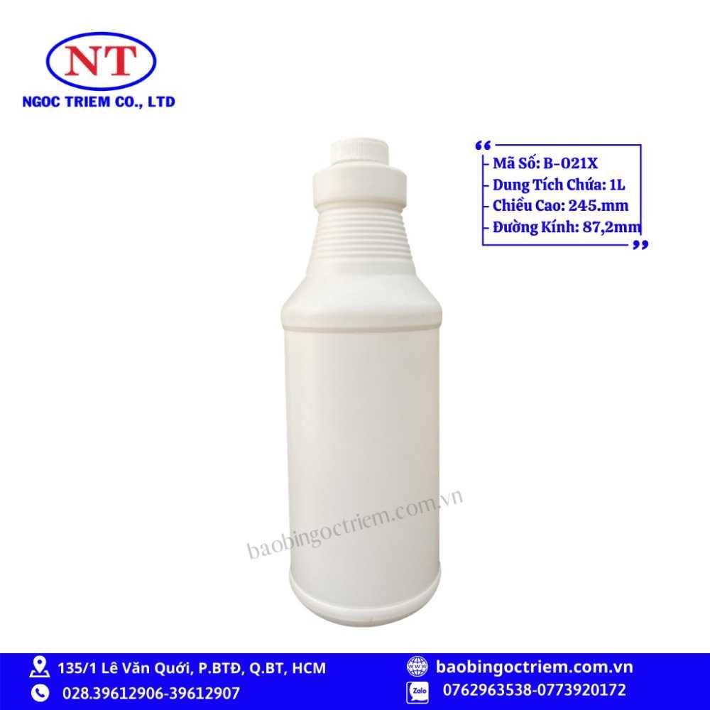 Bình Nhựa HDPE 1lít B-021X - BAO BÌ NGỌC TRIÊM0
