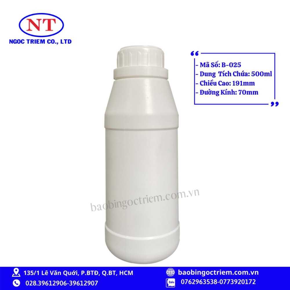 Bình Nhựa HDPE 500ml B-025 - BAO BÌ NGỌC TRIÊM0