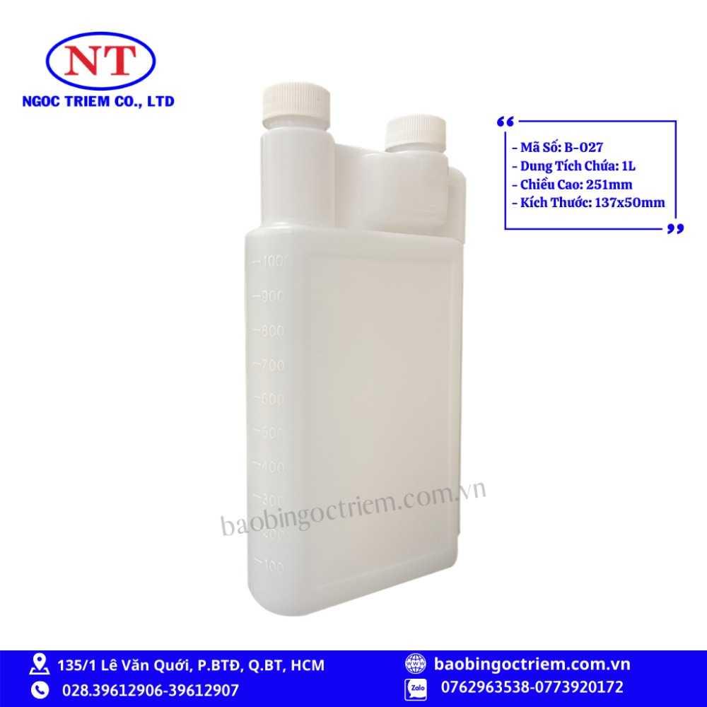 Bình Nhựa HDPE 1lít B-027 - BAO BÌ NGỌC TRIÊM1