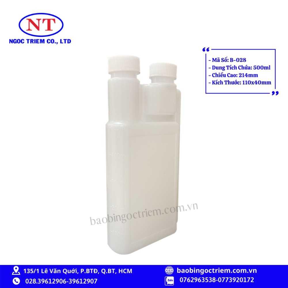 Bình Nhựa HDPE 500ml B-028 - BAO BÌ NGỌC TRIÊM1
