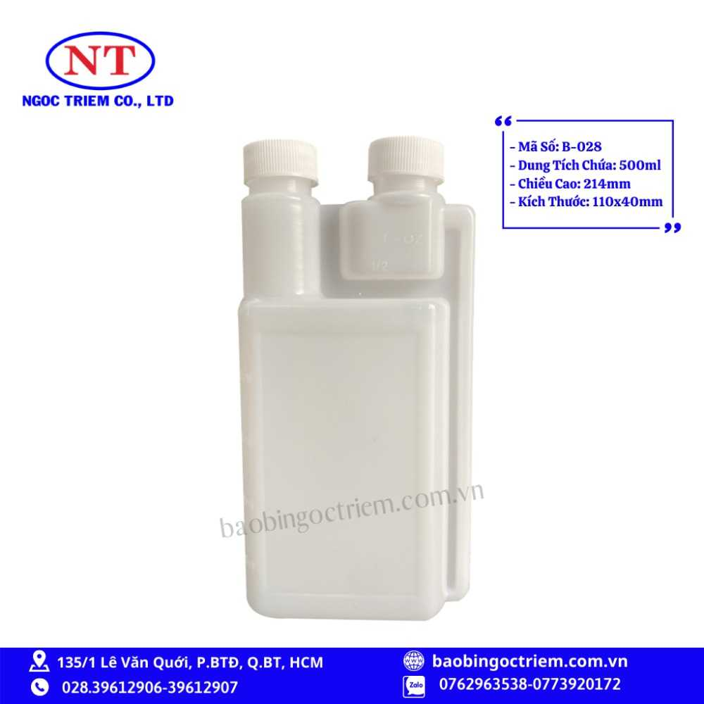 Bình Nhựa HDPE 500ml B-028 - BAO BÌ NGỌC TRIÊM0