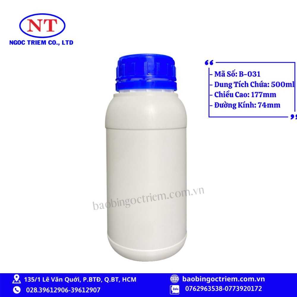 Bình Nhựa HDPE 500ml B-031 - BAO BÌ NGỌC TRIÊM0