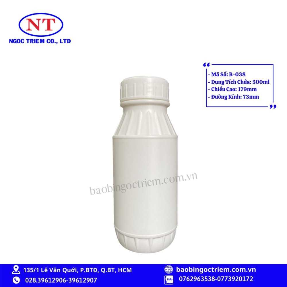 Bình Nhựa HDPE 500ml B-038 - BAO BÌ NGỌC TRIÊM0