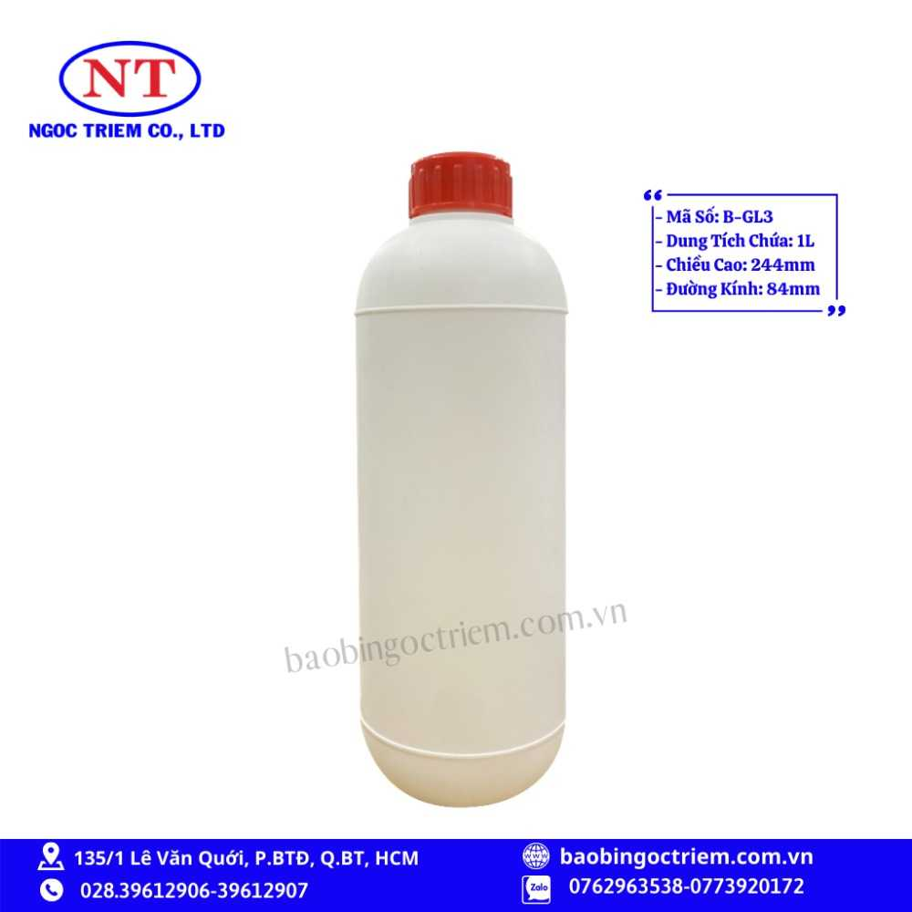 Bình Nhựa HDPE 1lít B-GL3 - BAO BÌ NGỌC TRIÊM0