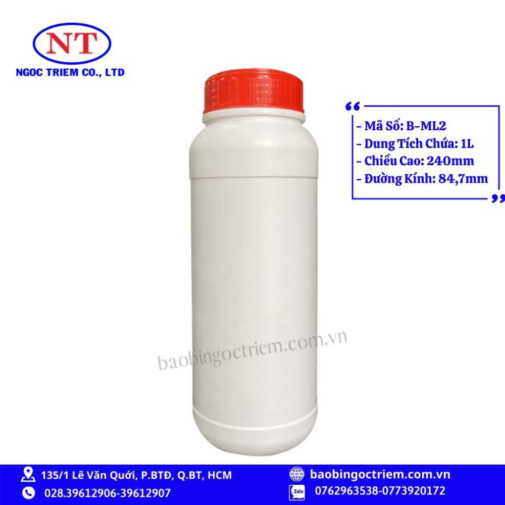 Bình Nhựa HDPE 1lít B-ML2 - BAO BÌ NGỌC TRIÊM0