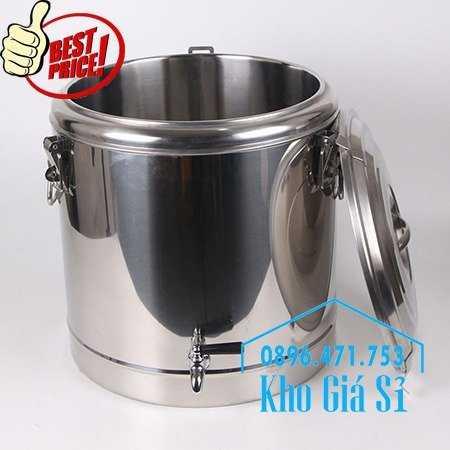 Bán thùng inox 304 giữ nhiệt 50 lít có vòi gạt mở đựng nước uống