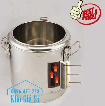 Cung cấp thùng inox 2 lớp giữ nhiệt 20 lít đựng cơm canh nóng20