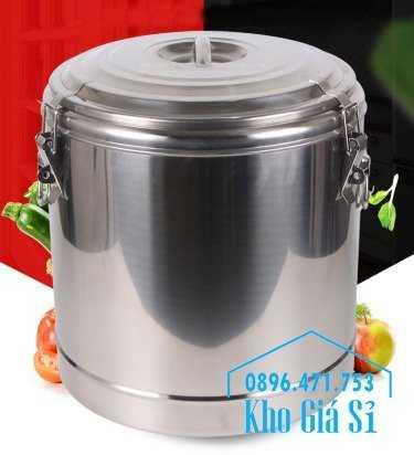 Cung cấp thùng inox 2 lớp giữ nhiệt 20 lít đựng cơm canh nóng18