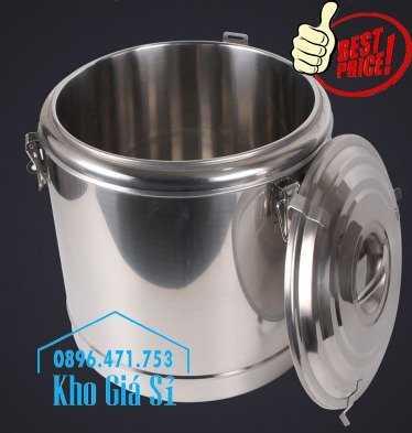 Cung cấp thùng inox 2 lớp giữ nhiệt 20 lít đựng cơm canh nóng17