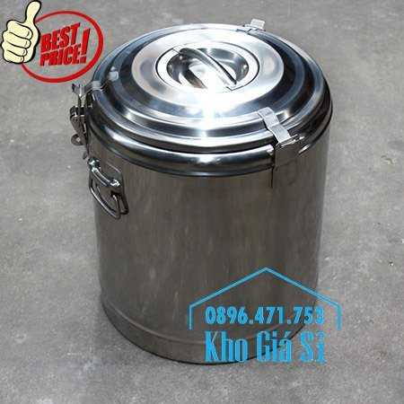 Cung cấp thùng inox 2 lớp giữ nhiệt 20 lít đựng cơm canh nóng14