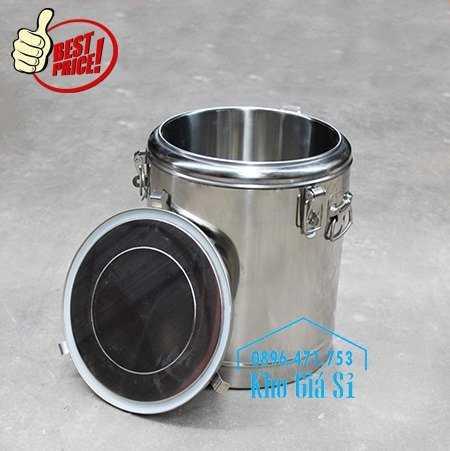 Cung cấp thùng inox 2 lớp giữ nhiệt 20 lít đựng cơm canh nóng10
