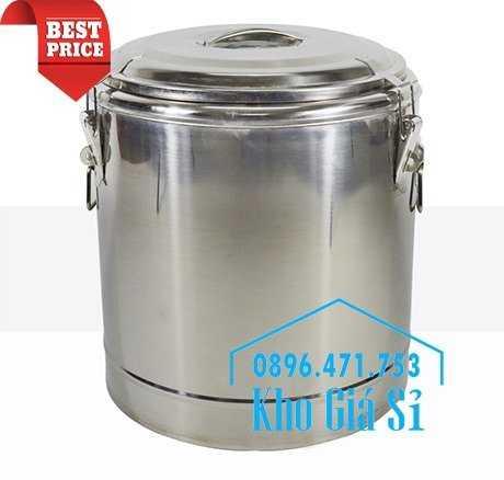 Cung cấp thùng inox 2 lớp giữ nhiệt 20 lít đựng cơm canh nóng6