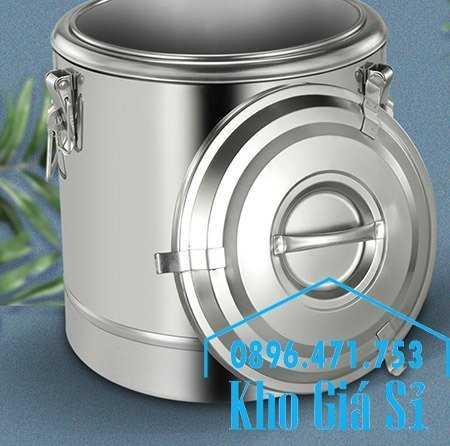 Cung cấp thùng inox 2 lớp giữ nhiệt 20 lít đựng cơm canh nóng5