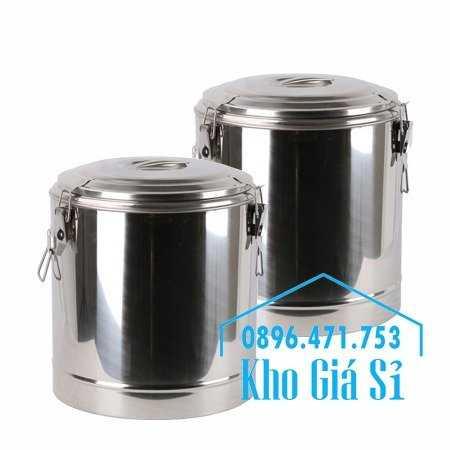 Cung cấp thùng inox 2 lớp giữ nhiệt 20 lít đựng cơm canh nóng2