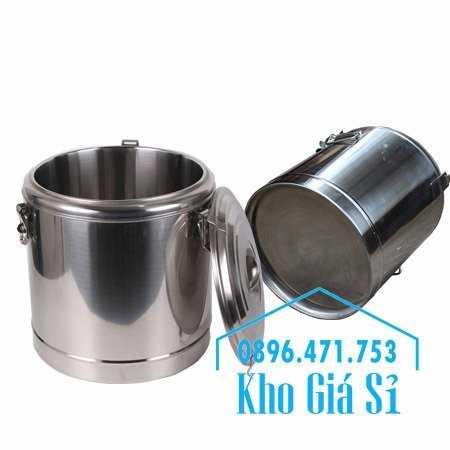 Cung cấp thùng inox 2 lớp giữ nhiệt 20 lít đựng cơm canh nóng0