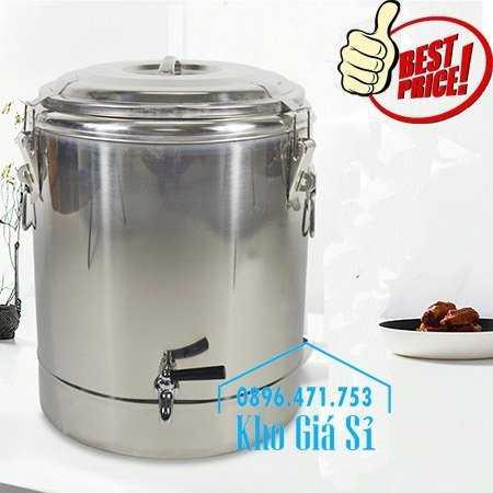 Cửa hàng bán thùng inox giữ nhiệt 30 lít có vòi gạt mở đựng nước uống