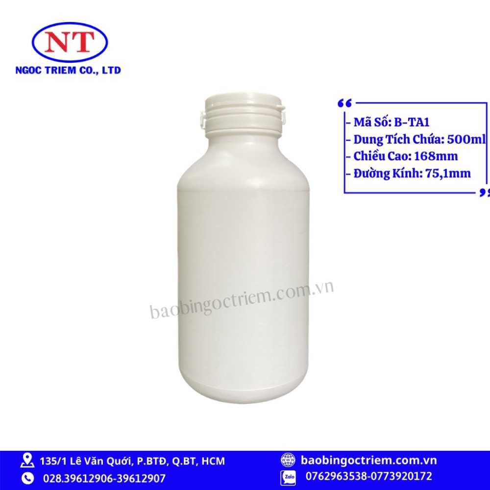 Bình Nhựa HDPE 500ml B-TA1 - BAO BÌ NGỌC TRIÊM0