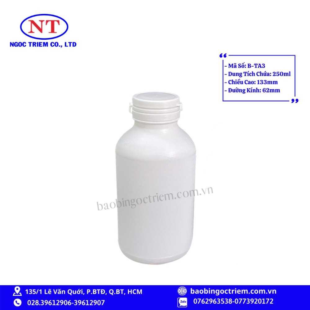 Bình Nhựa HDPE 250ml B-TA3 - BAO BÌ NGỌC TRIÊM0