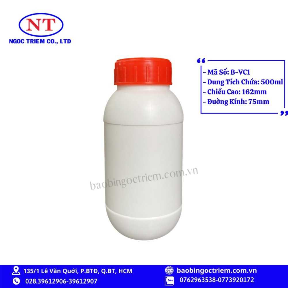 Bình Nhựa HDPE 500ml B-VC1 - BAO BÌ NGỌC TRIÊM0