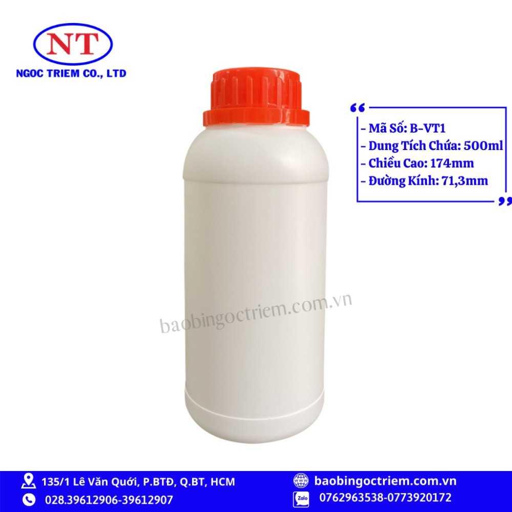 Bình Nhựa HDPE 500ml B-VT1 - BAO BÌ NGỌC TRIÊM0