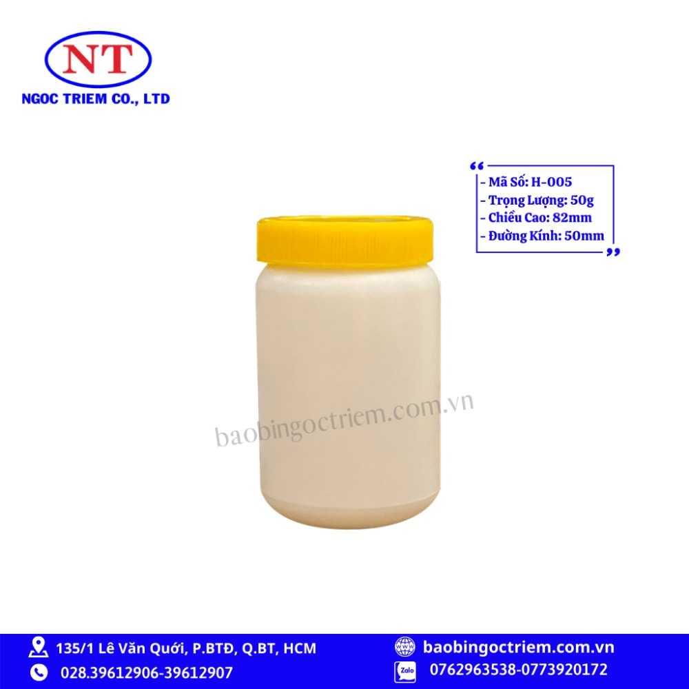 Hủ Nhựa HDPE 50g H-005 - BAO BÌ NGỌC TRIÊM0